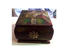 Wooden Box Hand Crafted Brass Fitted Old Trinket Jewelry Storage Box Home Art