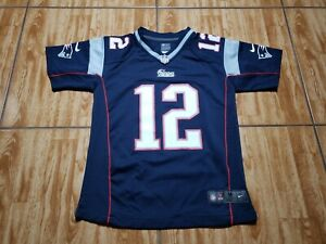 Nike New England Patriots Tom Brady Football Jersey Size M Blue NFL Youth Kids