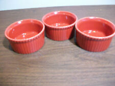 New listing Apilco France Fluted Ramekins Custard Creme Brûlée Cups Red Porcelain Set of 3