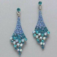 RHODIUM PLATED BLUE   CRYSTAL/  RHINESTONE DROP   DAZZLE/ DANGLE EARRING 9