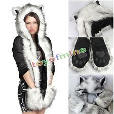 White Wolf Full Animal Hood Hoodie Hat Faux Fur 3 in 1 Function