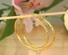 "22K THAI BAHT DP YELLOW GOLD ~ 2"" CLASSIC DIAMOND CUT ENDLESS HOOP EARRINGS"