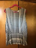 AVA VIV Top Sz 2X Long Sleeveless Geometric Black & White Rayon Blouse NWOT