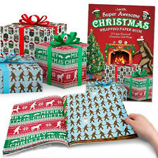 Super Awesome Christmas Wrapping Paper Book Gift Wrap Happy Holiday Funny