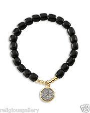 St Benedict Black Wood Beads Catholic Religious Stretch Bracelet,Two Tone Medal