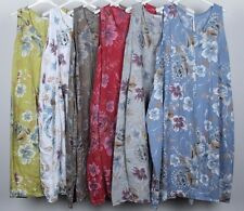 Ladies Floral Print Italian Lagenlook Quirky Sleeveless Pocket Linen Long Dress