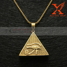 "14k Gold Plated Eye of Horus Egypt Pyramid Ankh Hip Hop Charms Pendant 24"" Chain"