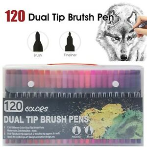 Art Markers Dual Tips Coloring Brush Pen & Fineliner Color Pens 120 Colour