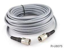 75ft RG-8/U Mini Coax UHF PL-259 Male/Male Grey Antenna Cable, R-U8075