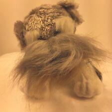 "GANZ Webkinz Schnauzer Dog Plush 9"" Grey White Tan Puppy Stuffed Animal Lovey"