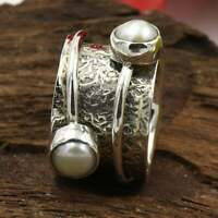 925 Sterling Silver Meditation Spin Spinner Ring Pearl Wide Band Ring Jewelry