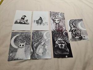 Postcards x6 art artist Jon Turner from Comic Con Black white 6x4