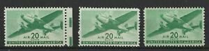 U10 USA Air mail SC C29 x3; M/NH; excellent stamps - CV $6.75