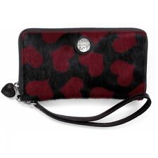 NWT Brighton HOUSE OF HEARTS  Black Red Maroon Wallet Purse Strap  MSRP $140