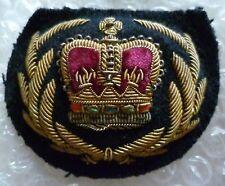 VINTAGE St Edward's Crown Warrant officer Rank Cap badge Bullion Velvet-ORG*