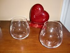 """~RIEDEL~Stemless Tyrol Clear Crystal Lot of 2~Wine Glasses Germany  Stamped 5""""T"""