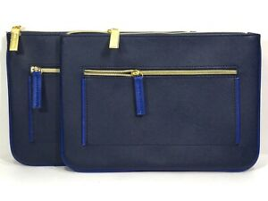 2pc Estée Lauder Faux Leather Makeup Pouch With Zipper Pocket Navy Blue