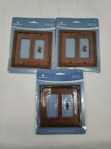 Brainerd Ruston Double Decorator Sponged Copper Wall Plate-165141-LOT OF 3