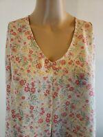 LC Lauren Conrad Women's Blouse Beige Coral Floral Tie Back Tassels Size Large