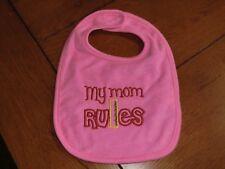 Embroidered Baby Bib - My Mom Rules - Girls