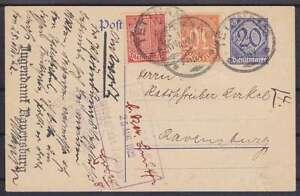 DR Dienst DP 2 Ganzsache ZuF 30, 27, Tettnang Amtsgericht - Ravensburg 1922