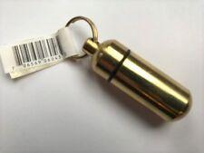 Keychain I.D. Holder Case Bottle Aluminum Container Ashes Inner Vial Gold Pill