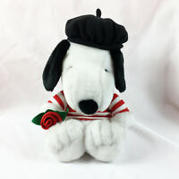 "A20 Hallmark French Valentine Snoopy Rose Dog Plush! 13"" Stuffed Toy Lovey"