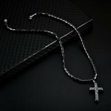 Magnetic Black Stone Cross Shape Pendant Necklace Fashion Hematite Jewelry Gifts