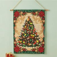 LED Lighted Decorated Christmas Tree Hanging Home Wall Tapestry