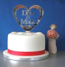 Personalised SILVER WEDDING ANNIVERSARY mirror acrylic cake topper 25th decor