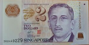 Singapore $2 ND (2007) Polymer Money Banknotes - UNC X 10 Pieces P46 Sequential