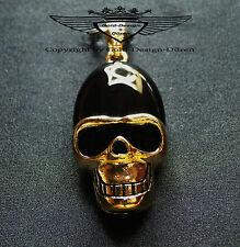 Anhänger, Achat, Edelstein, 24 Karat vergoldet,Totenkopf Fassung, Skull, neu