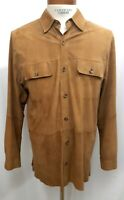 MENS JOS. A. BANK TAN BROWN LEATHER SUEDE BUTTON-DOWN SHIRT MEDIUM LARGE