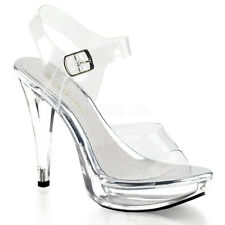 Fabulicious COCKTAIL-508 Women's Clear High Heels Platform Ankle Strap Sandals
