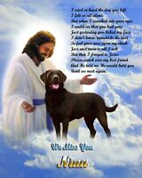 Chocolate Labrador Retriever with Jesus and  Poem- Personalized with Pet's Name