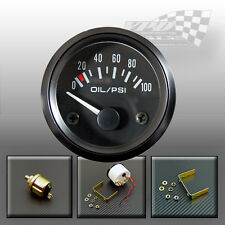 "Oil pressure gauge 0-100psi dial face with sender universal 52mm / 2"" dash panel"