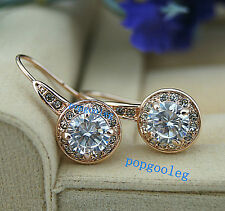 women earring 18K rose gold GP circle Austria drill Crystal zircon Earring hook