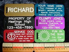 SIX (6) TAGS SET- DURABLE METAL ID SPORTS & LUGGAGE TAG 2 SIDED LASER ENGRAVED