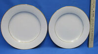 2 Noritake China Tulane 7562 Salad / Dessert Plates Ivory White Scroll Gold Trim