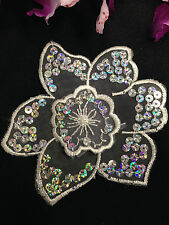 """4.5""""x4' inch,Two Layer Organza Flower with Silver Sequins, Lot of 3 Pcs, White"""