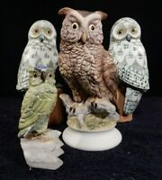LOT Great Horned Owl Lefton China Porcelain Hand Painted KW866 Japan & Friends