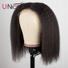 Yaki Kinky Straight Indian Human Hair Wig 13x4 Lace Front Wig Bob Wig PrePlucked