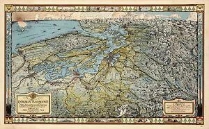 1936 Pictorial Bird's View Map The Evergreen Playground Seattle Washington 10x16