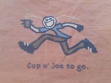 Women's LIFE IS GOOD Cup Of Joe To Go Long Sleeve Orange Graphic Shirt (M) E.U.C