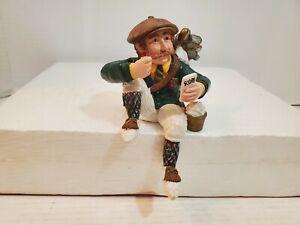 Scottish Golfer Sitting Decorative Figurine Score Card Bag Clubs Bucket Balls