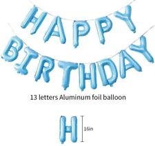 Happy Birthday Balloons Banner Letter Set Bunting Blue Kids Party Decoration 16