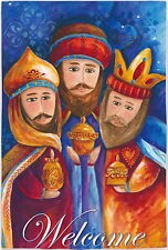 New Evergreen Double Sided Garden Welcome Christmas Flag Three Wise Men 12.5X18