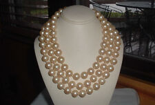 VINTAGE 3 STRAND KNOTTED CREME PEARL NECKLACE