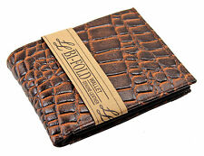 New Alligator Crocodile Print Mens Bifold Leather Wallet Brown Id Window Cards