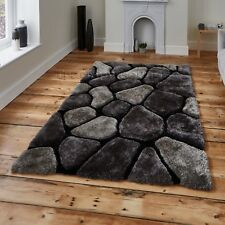 Black & Grey Pebble Rug Shaggy Pile Noble House Soft Hand Tufted Home Décor Mat 150cm X 230cm